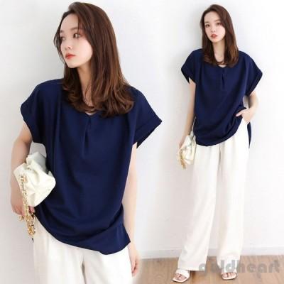 Tシャツ レディース きれいめ 40代 春夏 上品 半袖Tシャツ ブラウス 綿 白トップス Vネック オシャレ 韓国風 ゆったりカットソー 大きいサイズ Tシャツ