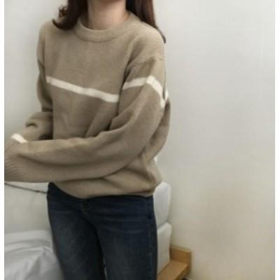 韓国 ファッション レディース トップス ニット セーター ライン 長袖 ゆったり カジュアル ペアルック オルチャン 大人可愛い シンプル