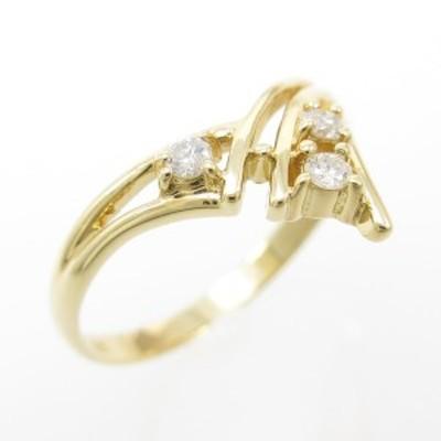 【中古品】K18YG ダイヤモンドリング