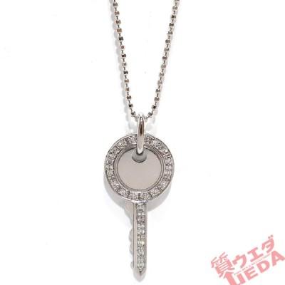 【天白】ヴァンドーム青山 ネックレス 鍵型 ダイヤ 0.1ct K18WG ホワイトゴールド 約40cm カギ
