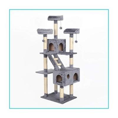 通用 Anti- toppling Climbing Cat Tree, Big Condos with Scratching Sisal Post, Cat Play House, Plush Padded Platforms Cat Activity Center P