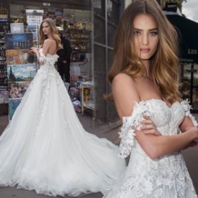 プリンセスライン 大きいサイズ オーガンザ マキシ丈 袖あり オフショルダー 20代 30代 ホワイト 透け感 シースルー エレガント 結婚式