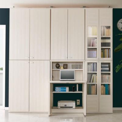 板扉 幅60cm×2台(重厚感のあるがっちり本棚上下セット+天井突っ張り金具) ホワイトモクメ
