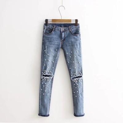 欧米のパールビーズの装飾縫代水洗いジーンズカジュアルパンツ ジーンズ ヴィンテージ調 フィットスタイル 着痩せの効果出る ベーシック 大人気
