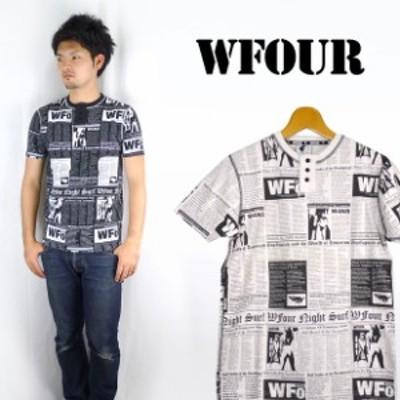 W4 ダブルフォー ヘンリーネック総柄Tシャツ