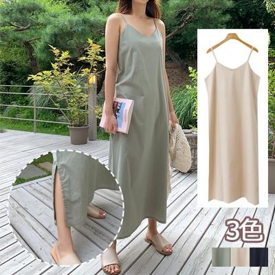 クーポンで適用可能★驚きの特価👗韓国ファッションカジュアルECサイト1位 ENVYLOOK💖リネン混両サイド裾スリットマキシキャミワンピース💖3COLOR 送料無料