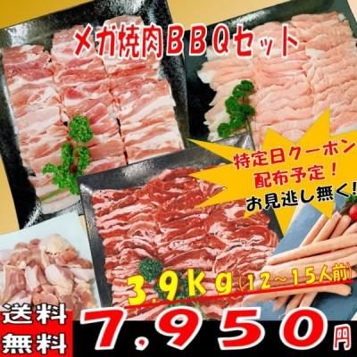 肉 バーベキュー 食材 牛肉 焼肉セット バーベキュー 肉 BBQ 肉 カルビ バラ 豚トロ ウインナー ソーセージ 焼肉 豚肉 鶏肉 3.9kg 12〜15人前