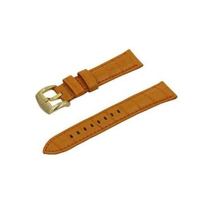 SWISS REIMAGINED クロコダイル イタリアンカーフスキンレザー時計バンド 艶なしゴールドステンレスバックル - 22mm オレ