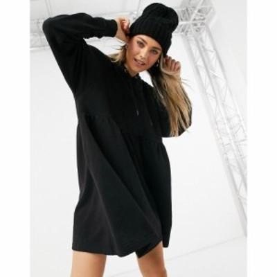 モンキ Monki レディース ワンピース パーカーワンピース ワンピース・ドレス Malin Organic Cotton Hoodie Mini Dress In Black ブラッ