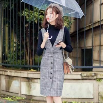 [一部即納] レディース サロペット スカート ジャンパースカート チェック ツーピース 大きいサイズ オールインワン ひざ丈 韓国 秋 冬