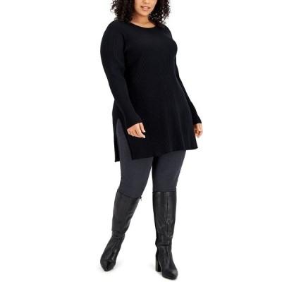 アルファニ ニット&セーター アウター レディース Plus Size Solid Ribbed Tunic Top, Created for Macy's Deep Black