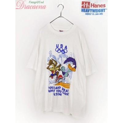 レディースTシャツ古着 90s USA製 Hanes USAオリンピック × LOONEY TUNES キャラ Tシャツ 白 XL 18lap13b