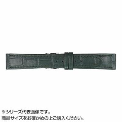 送料無料 2500円 MIMOSA(ミモザ) 時計バンド P型押ワニ 20mm グリーン (美錠:銀) CP-G20