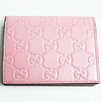 グッチ GUCCIグッチシマレザー 札入れ付き二つ折りカードケース ピンク 410120/質屋出店/中古/美品
