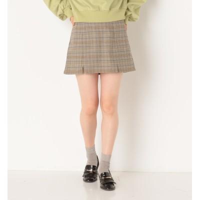 【アルシーヴ/archives】 先染めチェック前スリットスカート