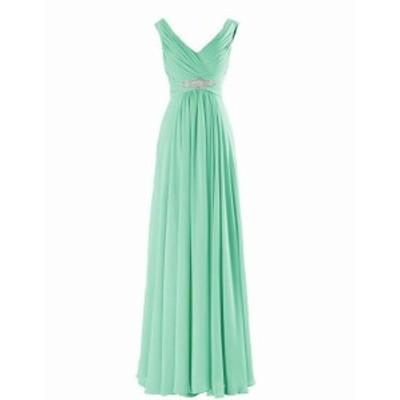 ファッション ドレス Yougao NEW Green Womens 16 Lace-Up V Neck A-Line Chiffon Ruched Gown