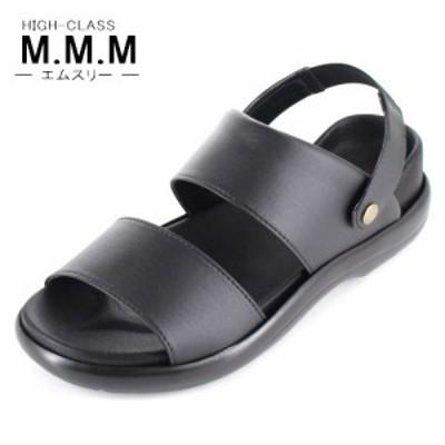 【BIGSALEクーポン対象】 サンダル メンズ M.M.M. エムスリー コンフォートサンダル ソフトインソール 95 黒 3E 室内履き 紳士 靴 日
