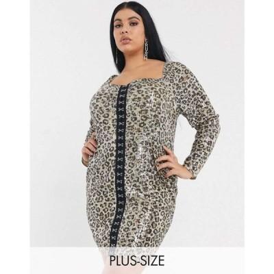 プリティーダーリン Pretty Darling Plus レディース ワンピース ミニ丈 Hook And Eye Square Neck Mini Dress In Leopard Sequin レオパードプリント