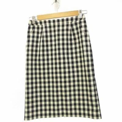 【中古】シップス SHIPS スカート ひざ丈 ギンガムチェック ストレッチ 紺 白 36 *A76 レディース