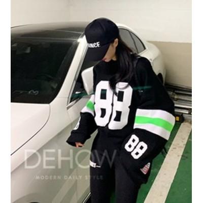 プリント トレーナー スウェット ビッグシルエット 韓国 ファッション レディース ストリート 秋冬 レディース ナンバーロゴ ビッグトレ