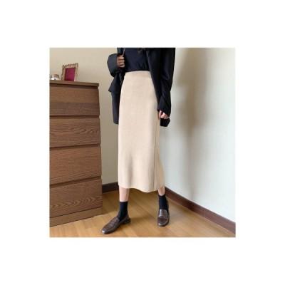 【送料無料】ハイウエストのスカート 女 秋冬 ミディ丈 アプリコット スカート 新しいデザイン | 364331_A64431-2570879