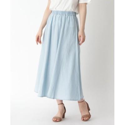 furryrate(ファーリーレイト) リネン混スリットフレアロングスカート