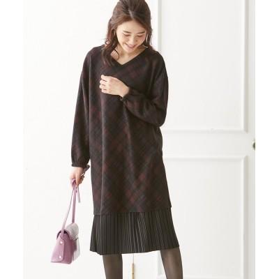 大きいサイズ 裾プリーツニットソーひざ丈ワンピース(オトナスマイル) ,スマイルランド, ワンピース, plus size dress