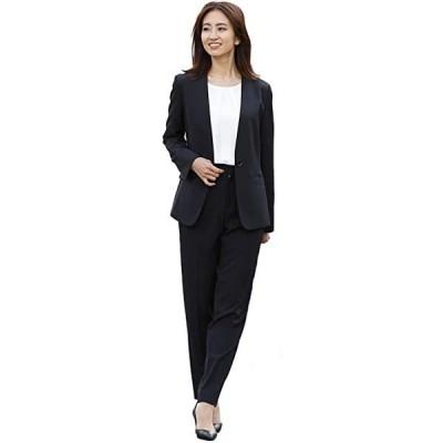レディース スーツ セット パンツスーツ ノーカラー 2点セット オフィススーツ 大きいサイズ 通勤(s210204011)