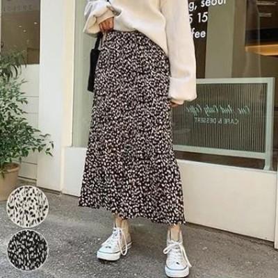 韓国の韓国版の大きいサイズの半身のスカートのヒョウの紋様のプリーツのスカートのヒョウの紋様は長いスカートをつづり合わせます レディースファッション 韓国ファッション