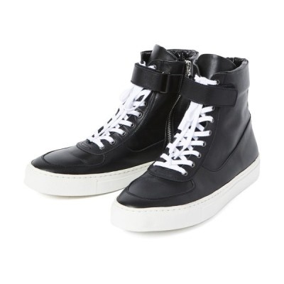 【20%OFF ¥40,700→¥32,560】CHORD NUMBER EIGHT (MEN) / LEATHER  ZIP SNEAKERS(ブラック×ホワイト)