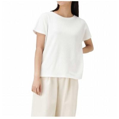 (MAC HOUSE(women)/マックハウス レディース)NAVY ネイビー クルーワッフルTシャツ NVCS0001/レディース ホワイト