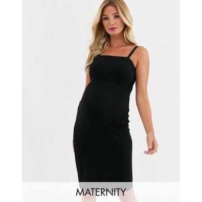 クイーンビー レディース ワンピース トップス Queen Bee Maternity cami strap midi pencil dress in black Black