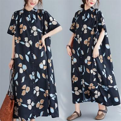 シャツワンピース ロングシャツ レディース ロングワンピ 夏服 半袖  花柄 大きいサイズ ゆったり 体型カバー 可愛い 大人女子向け