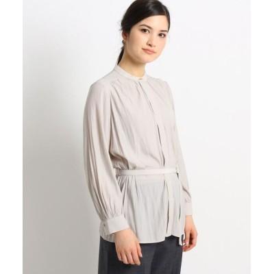 Dessin/デッサン 【S~Lサイズあり】パウダーサテンバンドカラーシャツ ライトグレー(011) 03(L)
