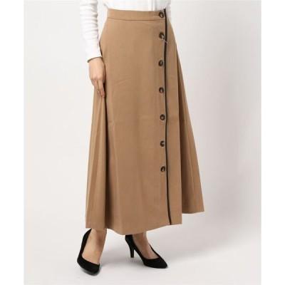 スカート フェイクスエード合皮パイピングスカート