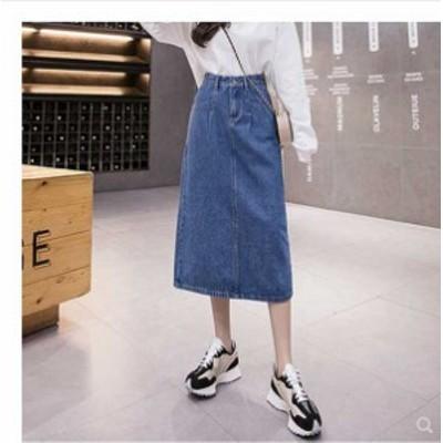 [送料無料キャンペーン] 夏新作 予約商品 大きいサイズ レディース ボトムス スカート デニム ロング シンプル スリット ガーリー 5XL 4X