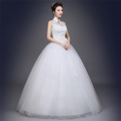 ウェディングドレス チャイナ Vネック結婚式 花嫁 二次会 ベール付き パーティードレス ノースリーブ 編上げ レースアップ Aライン 安い