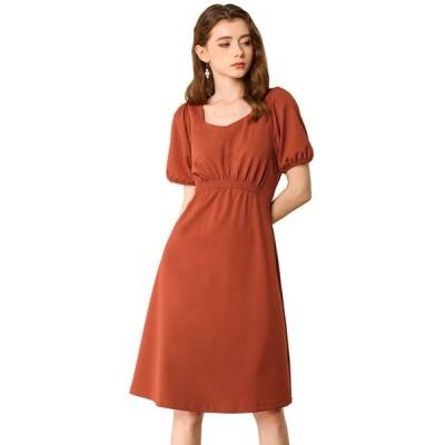 uxcell Allegra K aラインワンピースドレス パフスリーブ 半袖 ウェストゴム 無地 レディース バーントオレンジ色 XS