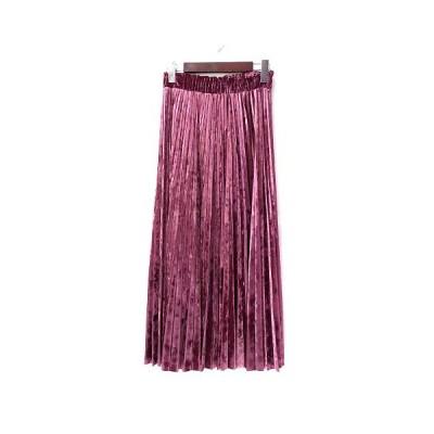 【中古】グレースコンチネンタル GRACE CONTINENTAL プリーツ スカート 36 S ピンク ポリエステル ロング 無地 シンプル ウエストゴム ベロア【ベクトル 古着】