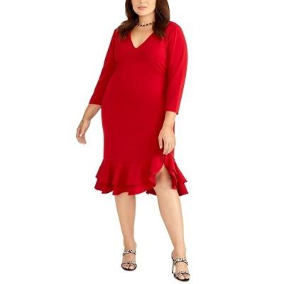 ライチェルレイチェルロイ ワンピース トップス レディース Trendy Plus Size Tiered Ruffled Sheath Dress Autumn Cherry