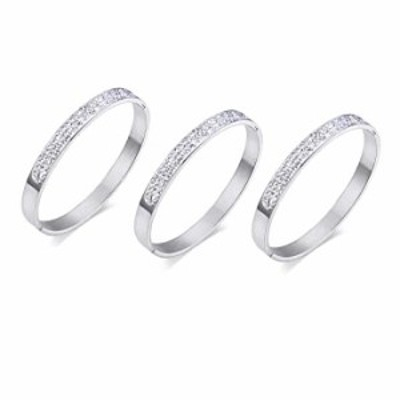 VNOX Stainless Steel Cubic Zirconia Rhinestones Paved Eternity Cuff Bangle Bracelet for Women Girl (Sliver, Pack of 3)