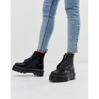 ドクターマーチン レディース ブーツ・レインブーツ シューズ Dr Martens Sinclair Black Leather Zip Chunky Flatform Boots