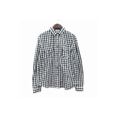 【中古】マウジー moussy シャツ 長袖 ギンガムチェック 刺繍 F 黒 ブラック 白 ホワイト /CT レディース 【ベクトル 古着】