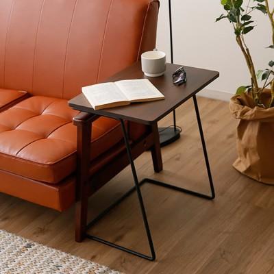[幅49] サイドテーブル ワイド天板 天然木使用 スチール脚 木目調