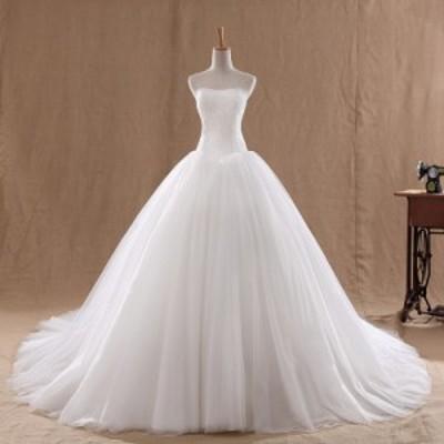 ファッション 花嫁ウェディングドレス 結婚式 二次会 演出服 パーティードレス ステージドレス ホワイト 白 撮影 大きいサイズ S-9XL