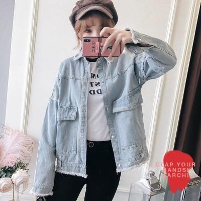 大きいサイズ ジャケット レディース ファッション ぽっちゃり おおきいサイズ  デニム Gジャン フレイドヘム 切りっぱなし LL 3L 4L 5L 6L 秋冬