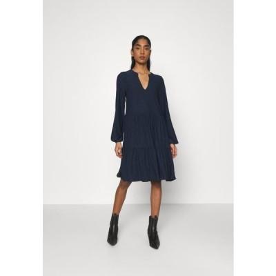 レディース ファッション VISANIANA V-NECK DRESS - Jersey dress - navy blazer