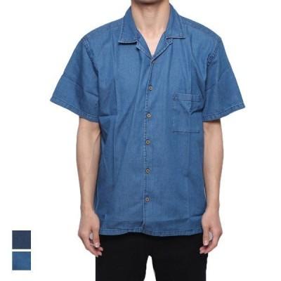シャツデニムシャツ開襟シャツビッグサイズ半袖オープンカラーシャツカジュアルシャツトップスメンズ