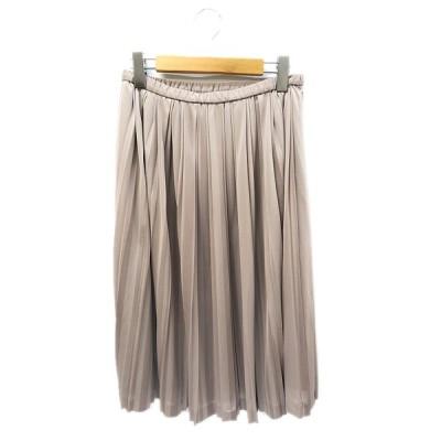 【中古】アンクライン ANNE KLEIN フレア プリーツ ミモレ スカート 11 グレー レディース 【ベクトル 古着】