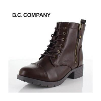 B.C COMPANY ビーシーカンパニー 靴 76701 ショートブーツ ラウンドトゥ 防水 編み上げ レースアップ ダークブラウン レディース
